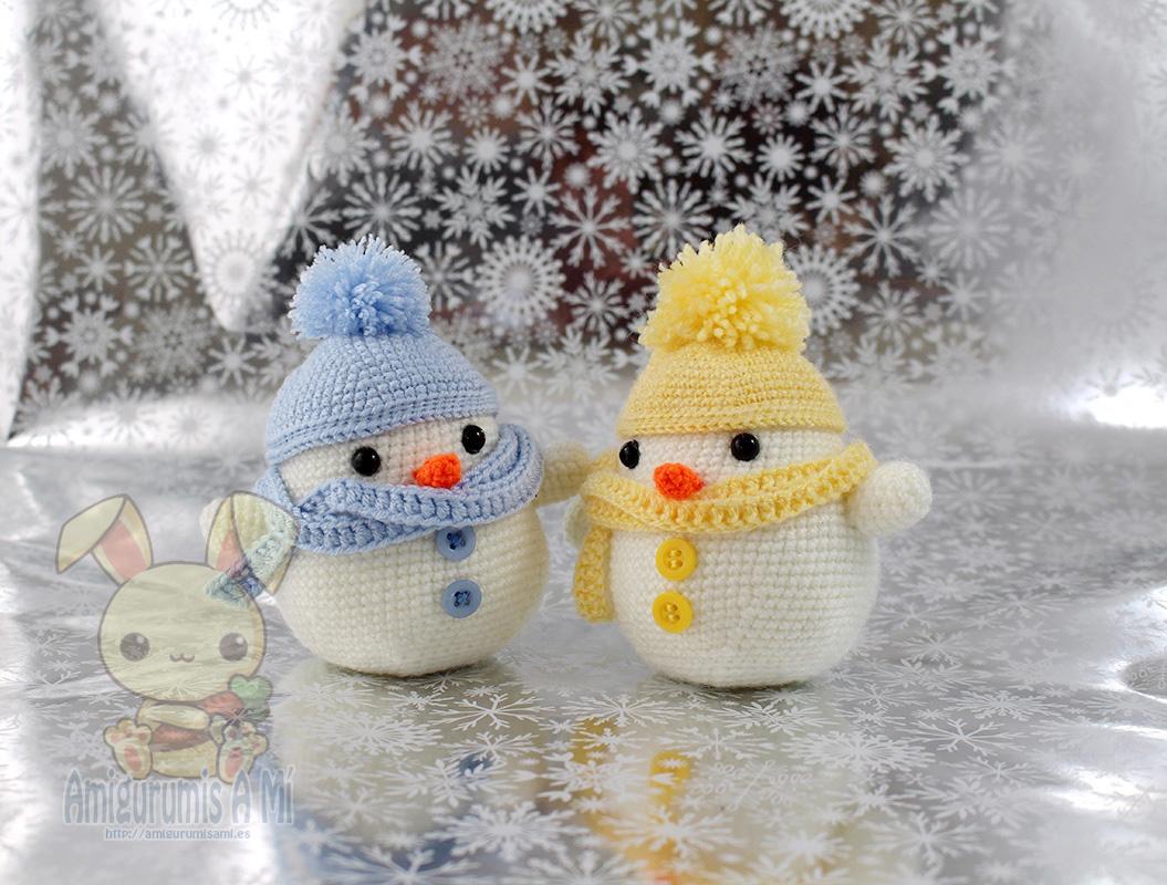 Muñecos de nieve 2020 (patron de luvlygurumi)